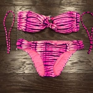 Victorias secret pink, purple tie-dye bikini